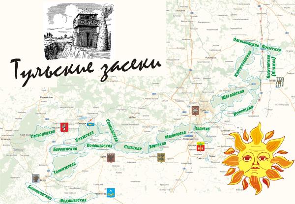 Карта схема Тульские засеки