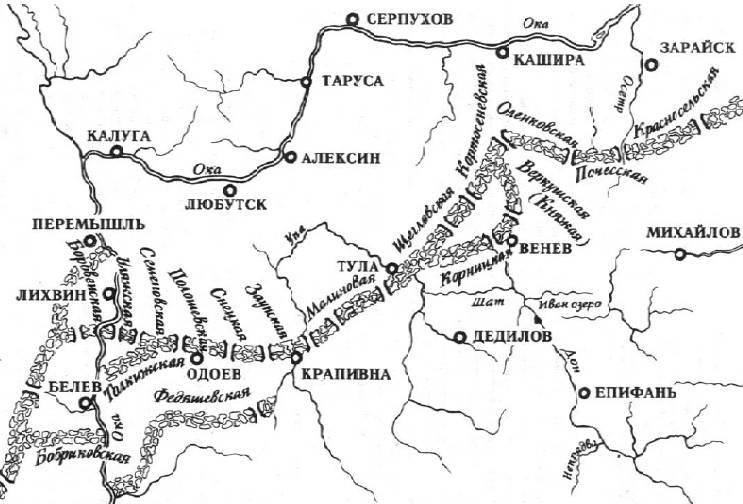 Старинная карта схема Тульских засек